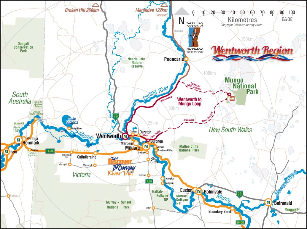wentworth region map discover murray river